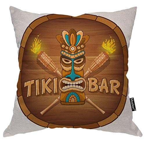 Moslion Tribal Pillows Word Tiki Bar Wooden Mask Bamboo Torch Circle Throw Pillow Cover Decorative Pillow Case Square Cushion Accent Cotton Linen Home 18x18 Inch Brown White -