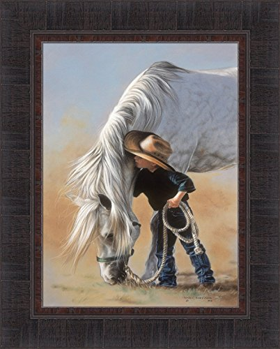 Little Whispers by Lesley Harrison 17x21 Boy Talking To Horse Little Cowboy Framed Art Print Wall Décor Picture ()