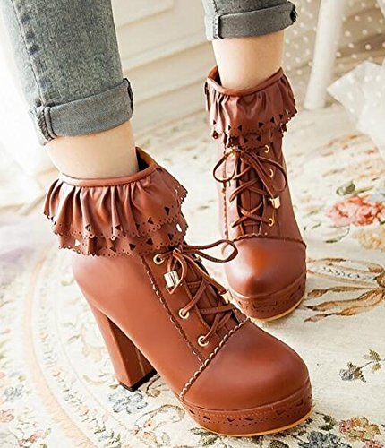 Idifu Womens Sweet High Block Tacchi Plateau Ankle Martin Boots Lace Up Booties Motor Brown