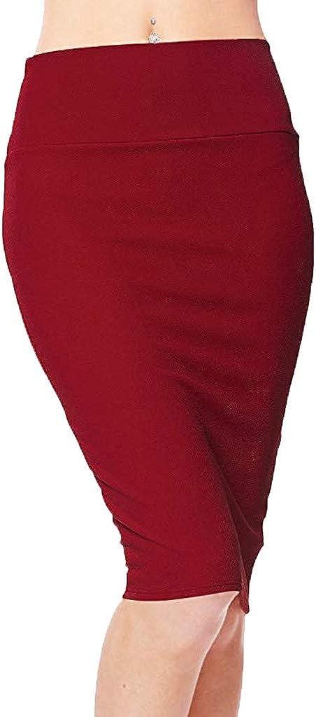 TUDUZ Mujeres Falda Midi Cintura Alta Elasticidad Bodycon Tubo Falda Lápiz Cómodo Falda para Ropa De Oficina