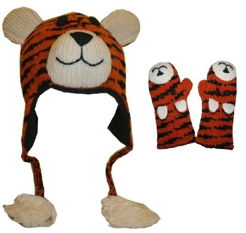Agan Traders 60 Set Wool Animal Hat Mitten (One Size, Tiger (Monkey Wool Mittens)