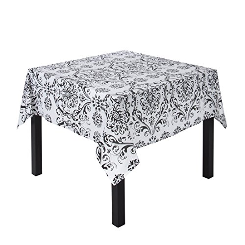 LinenTablecloth Square Cotton Black on White Damask Tablecloth, 60-Inch