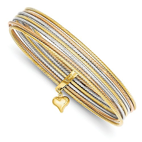 14K Tri-color Slip On 7 Bangles by CoutureJewelers