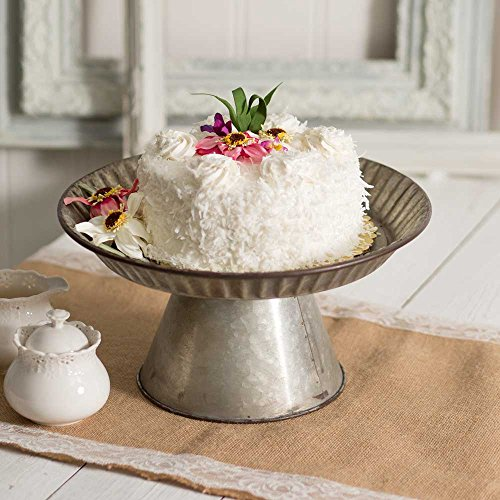 (Metal Fluted Galvanized Cake Stand)