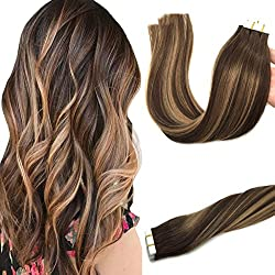 Googoo 20pcs 50g Human Hair Extensions Tape in Ombre Chocolate Brown to Caramel Blonde Natural Hair Extensions Tape in Real Hair Balayage Straight Tape Hair 14 inch
