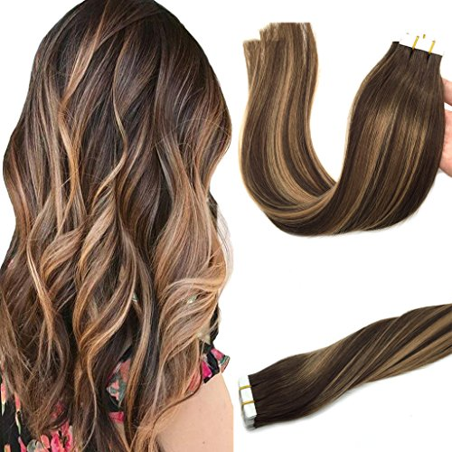 Googoo 20pcs 50g Tape in Hair Extensions Ombre Chocolate Brown to Caramel Blonde Remy Human Hair Extensions Tape in Balayage Natural Hair 20 inch