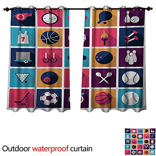 WilliamsDecor Olympics Outdoor Balcony Privacy Curtain Sports Icons Image with Whistle Stopwatch Bowling and Various Types of Balls W96 x L72(245cm x 183cm)