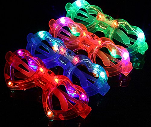 12ct LED Light Up Sunglasses - Flashing Multi Colored Led Glasses Best Party Favors Light Up Flashing Glasses for Children (Heart) -