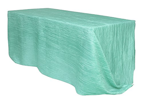 Your Chair Covers - 90 x 132 inch Rectangular Crinkle Taffeta Tablecloth Tiffany, Rectangle Table Linens for 6 ft Rectangular Tables, Wedding Crushed Table Cloth