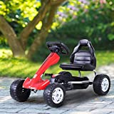 Godyluck Kids Pedal Powered Go Kart Racer Ride On Outdoor Racer Car with 4 Steering Wheels and Thick Padded Seat Red for Children Boys Girls