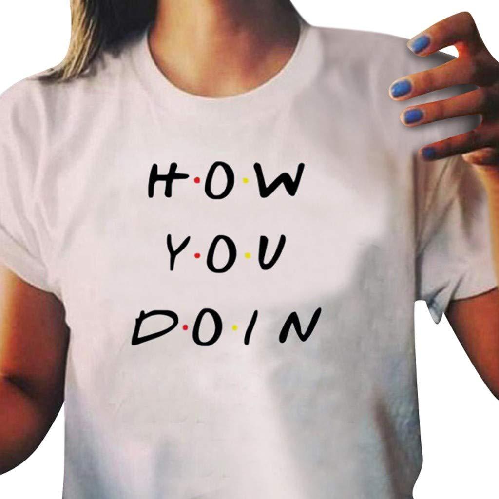 SHJIRsei Camisas Mujer Verano Camisa Manga Corta Cuello Redondo Casual Camiseta O-Cuello de Impreso Camiseta Impresi/ón de Letras Blusa Casual Superior Verano 2019