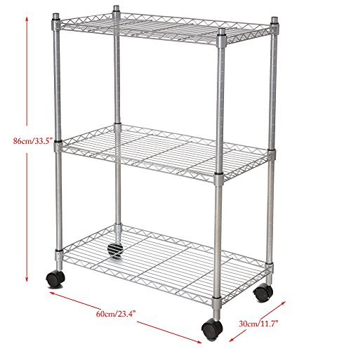 Portable 3-Tier Rolling Chrome Cart Wire Shelving Rack with Locking Wheels Adjustable For Bathroom Kitchen [US STOCK] (Silver)