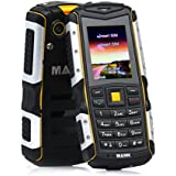 ECOOPRO Rugged Unlocked GSM Cell Phone (Gold) - Dual SIM Mobile Device - Shockproof, Waterproof, Dustproof - Rear Camera, Flashlight, USB Charger - 2-Week Battery Life Yellow