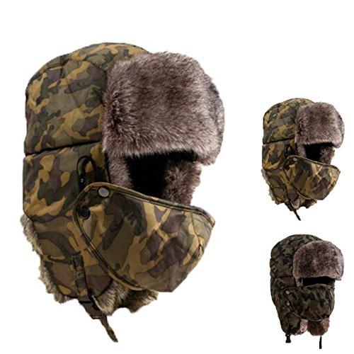 Sombrero grueso de invierno máscara unisex de camuflaje cálido a ...