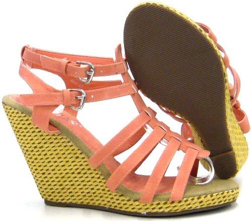 Schuh-City Damen Schuhe Pumps Sandaletten mit Keilabsatz Rot