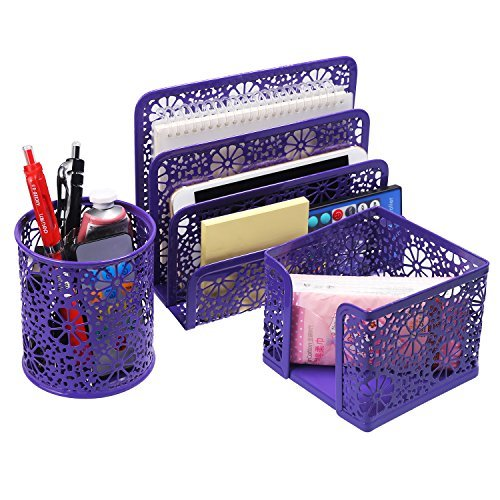 Desk Organizer BELLESTYLE 3 in 1 Set Desktop Pencil Stick Note Holder Letter Tray Office Accessories Caddy Purple