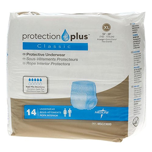 Medline Protection Plus Classic Protective Underwear, X-Large, 56 Count (Pack of 12)