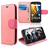Motorola Moto G4 / G4 Plus / XT1644 Case, INNOVAA Premium Leather Wallet Case (Not Compatible with Motorola Moto G4 Play) With STAND Flip Cover W/ Free Screen Protector & Stylus Pen - Light Pink