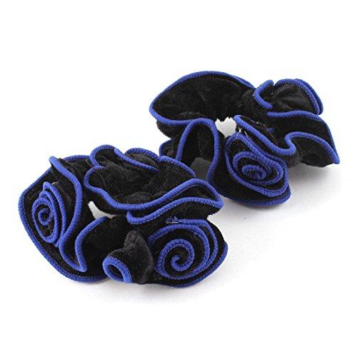 UPC 702105809969, Uxcell 2 Piece Flower Shaped Hairband Ponytail Holder Hair Tie, Black Blue, 0.06 Pound