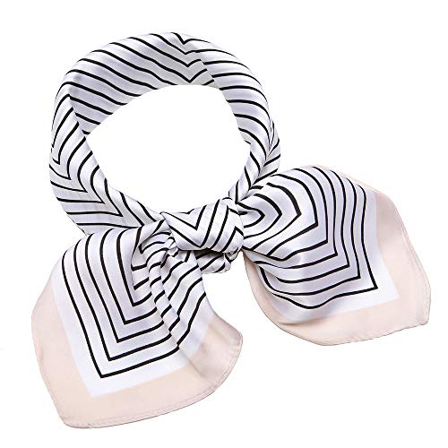 Silk Like Scarf Square Satin Hair Scarf Fashion Maze Neck Scarfs for Women Beige 27'' x 27''