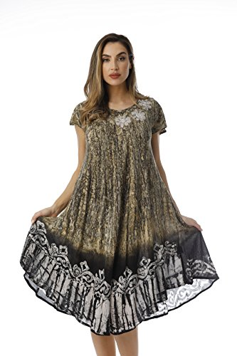Riviera Sun Rayon Crepe Batik Marble Short Sleeve Umbrella Dress 21835-GRY-L Grey ()