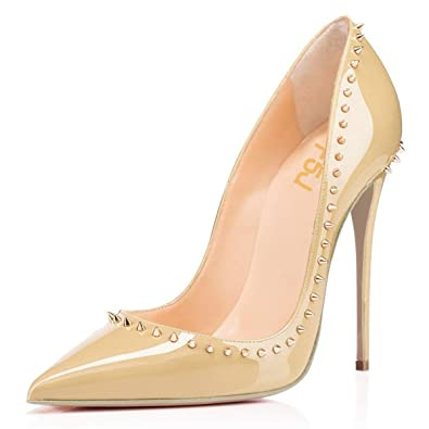 da588add3a98 FSJ Women Pumps Pointed Toe High Heel Stilettos Rivets Studded Patent  Leather Shoes Size 4 Beige