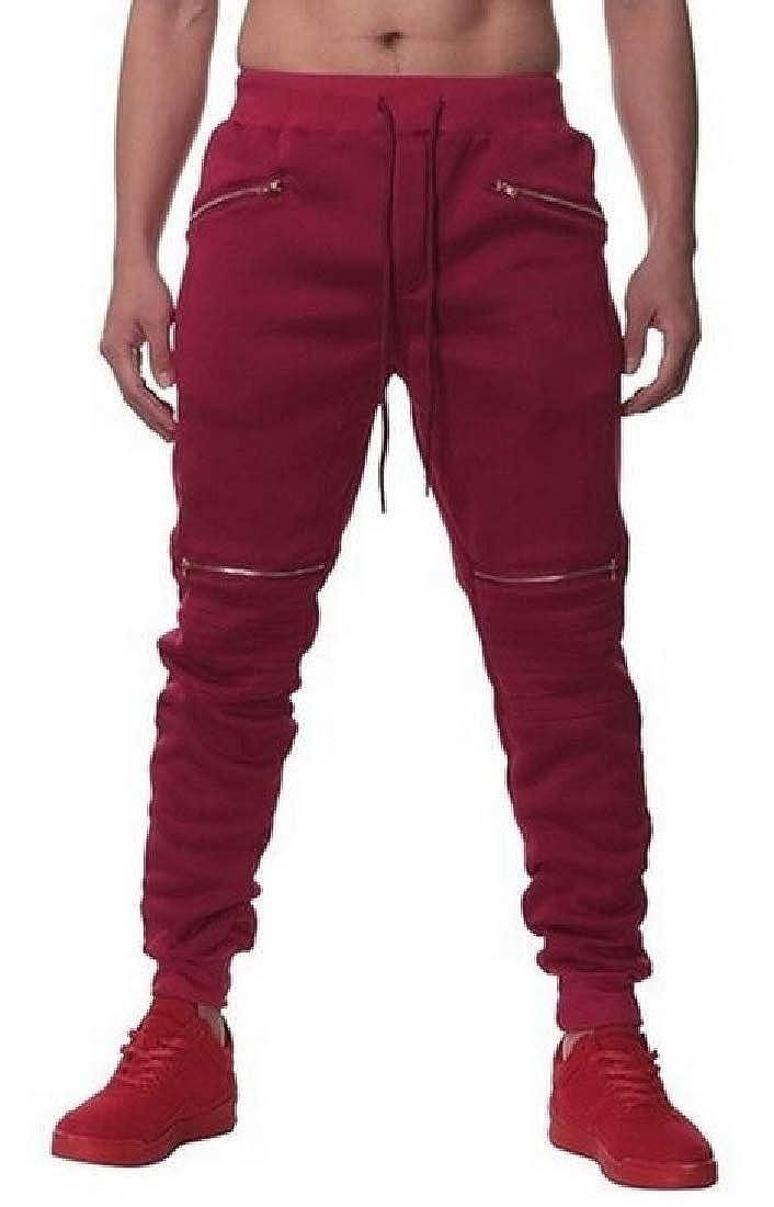 SHOWNO Mens Athletic Pure Color Zip Trim Casual Sweatpants Jogger Pants Trousers