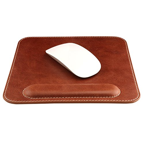 OTTO Genuine Leather Mousepad with Wrist Rest (Brown) by OTTO Leather