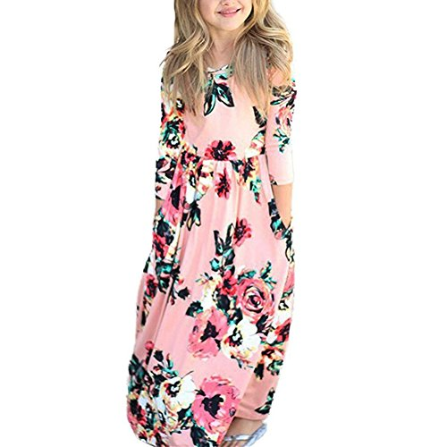 QIJOVO Girl Floral Maxi Dress with Pockets Sleeves Long Holiday Dress Pink