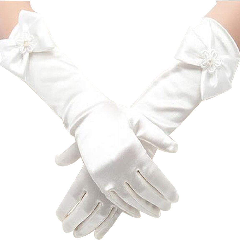 Gtopart Girls Long Satin Formal Gloves - Flower Girls Bowknot Wedding Gloves (M:4-7 Years Old), (L:8-15 Years Old) (M, White)
