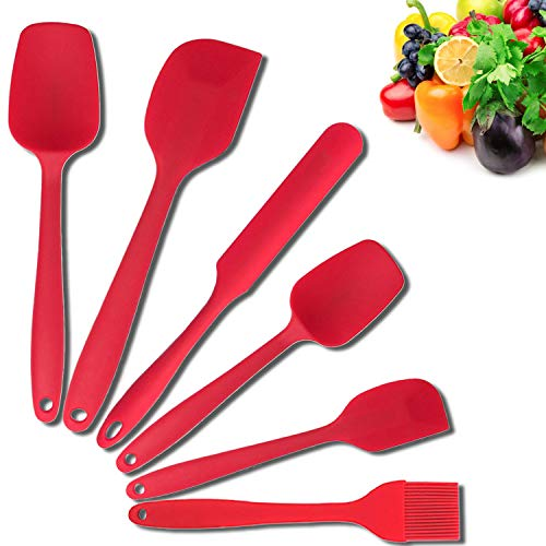 (Uookki Silicone 6 Piece Non-Stick & Heat-Resistant Rubber Spatula Set with Strong Stainless Steel Core, for Cooking, Baking and Mixing, Red)