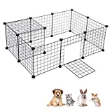 Greensen DIY Dog Kennel, Foldable Pet Playpen Door Cable Tie Metal Wire Animal Grid Cage Guinea Pig Hedgehog Kitten Puppy Hedgehog Hamster Rabbit, Outdoor Indoor, Black(12 Panels) Review