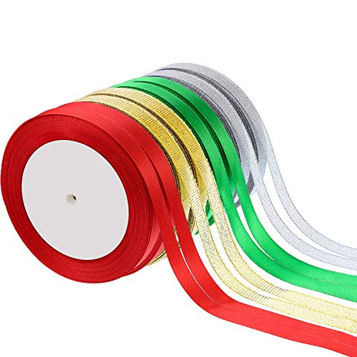 Sumind 8 Rolls 200 Yards Total 10 mm Satin Ribbon Roll Shimmer Sheer Organza Ribbon for Valentines Day Party Wedding DIY Decoration (Color A)