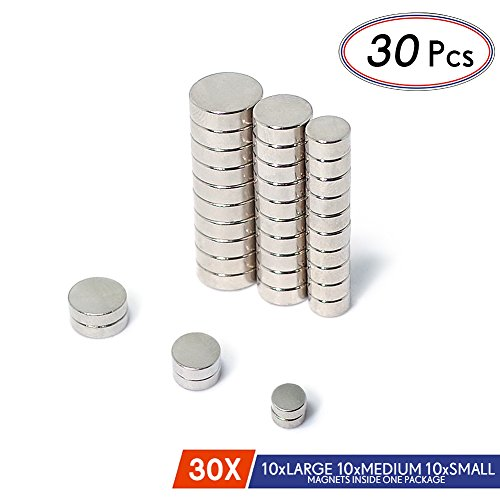 JACK CHLOE Round Refrigerator Magnets By, 30Pcs Stainless Steel Craft Magnets Of 3 Different Sizes, Durable Small Magnets For Multi-Use