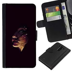 KLONGSHOP // Tirón de la caja Cartera de cuero con ranuras para tarjetas - Face In The Dark - LG G3 //