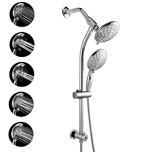 Polished Chrome Combo - LORDEAR Commercial Flexible 5 Functions Double Rain Hotel Spa Dual Bathroom Shower Heads Handheld Combo,Polished Chrome Shower Set with Adjustable Slide Bar and Stainless Steel Hose