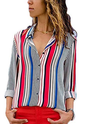 Tops for Women Ladies Tops Button up Striped Womens Blouses and Tops for Women for Work Casual Long Sleeves Shirts L White