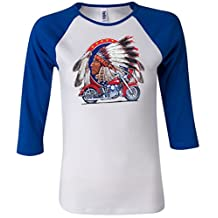 Buy Cool Shirts Ladies Indian with Motorcycle T-shirt Big Chief 3/4 Sleeve Raglan