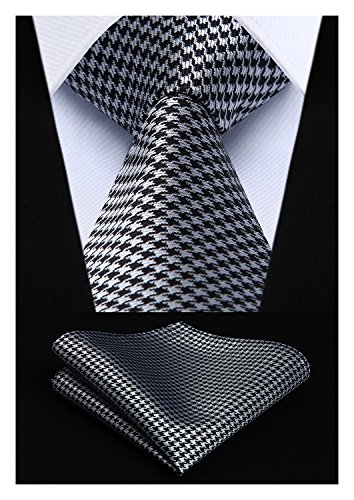 HISDERN Extra Long Houndstooth Tie Handkerchief Men's Necktie & Pocket Square Set (Silver & Black)