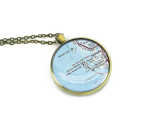 Map Of Anna Maria Island Florida.Amazon Com 1947 Anna Maria Island Map Necklace Florida Round Silver