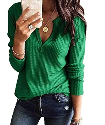 d9a445e1ce BYWX Women Long Sleeve V Neck Thin Sweater Pullover Top at Amazon ...