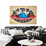 "Bowling Party Canvas Wall Art Old Fashioned Retro Circular Sport Emblem Stars Ribbon with Typography Design Print Paintings for Home Wall Office Decor 20""x16"" Multicolor"
