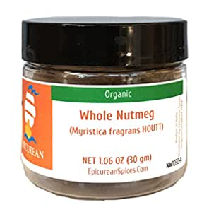 Epicurean Spices Organic Nutmeg, Whole, 1.06 Oz