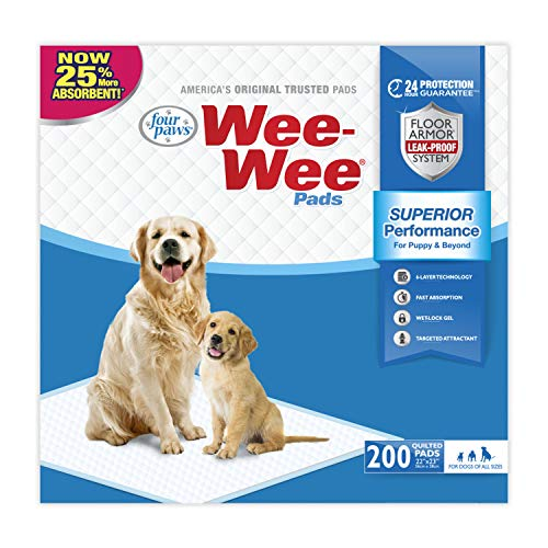 Wee Wee Puppy Pee Pads for Dogs | 200 Count | Puppy Training Pads for Dogs | Standard Size Pads