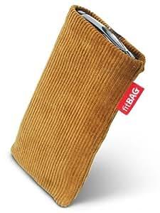 fitBAG Retro Marrón Turrón - Funda a medida, Exterior de pana, con forro interno de microfibra, para Apple iPhone 5 / 5S 16GB 32GB 64GB