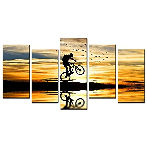 CHARM HOME 5 Piece Of Set Wall Art For Home Decoration Extreme Sports Bike Race Mountain Bike Poster Print Modern Canvas Landscape - Rectangle Picture Frame Charms