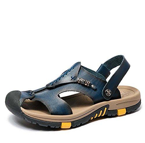 spessa sandali uomo in con traspirante casual da britannica suola 45 antiscivolo Ydxwan Sandali taglie traspiranti 38 Blue Baotou pelle scarpe in pantofola estate pelle OxnxAawq