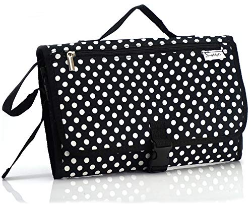 Simplily Co. Baby Portable Travel Diaper Changing Station Mat Pad Clutch Bag (Black & White Dots) ()