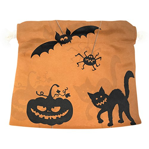 Drawstring Bag, Halloween Pumpkin Bat Cat Pattern Print Drawstring Sack with Double Drawstring Gift Bag Jewelry Candy Pouch for Wedding Party DIY Crafts Presents, Brown for $<!--$17.95-->