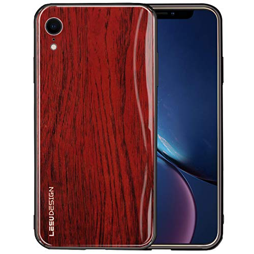 (BeautyWill iPhone XR Wood Case Wooden Pattern 9H Tempered Glass Ultra Slim Thin Back Cover Soft TPU Bumper for iPhone XR 6.1 inch)
